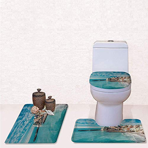 Print 3 Pcss Bathroom Rug Set Contour Mat Toilet Seat Cover,Panorama of Old Italian Fish Village Beach Old Province Coastal Charm Image with Turquoise,decorate bathroom,entrance door,kitchen,bedroo