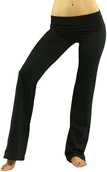 a12c57f4ca ToBeInStyle Women's Low Rise Sweatpants w/Fold-Over Waistband - Small -  Black