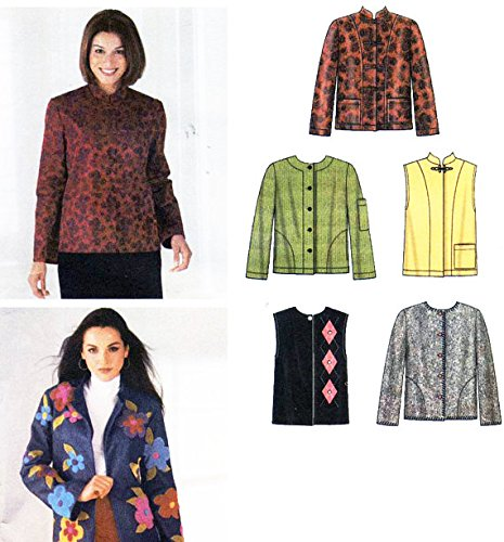 (Simplicity 4826 Sewing Pattern for Six Easy Jackets or Vests with Stand Collar, Frog or Button Closure, Seam Interest, or Applique Trim or Pocket Interest Options in Misses 6-16 or XS- M (Loose Leaf) )