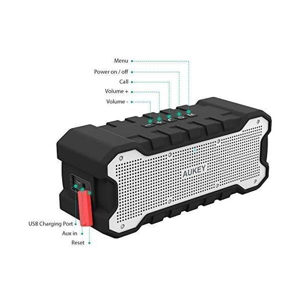AUKEY Enceinte Bluetooth Portable Waterproof IPX7 avec 30 Heures de Lecture, Haut-Parleur Bluetooth Portable sans Fil pour Portable et Tablette 5