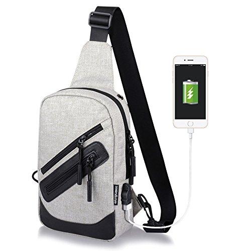 Bolsos de hombro STRIR Sling Schulter-Umhängetasche Tasche für Herren Frauen leichter Wandern Reisen Rucksack Tagesrucksack mit USB Lade-Schnittstelle Gris