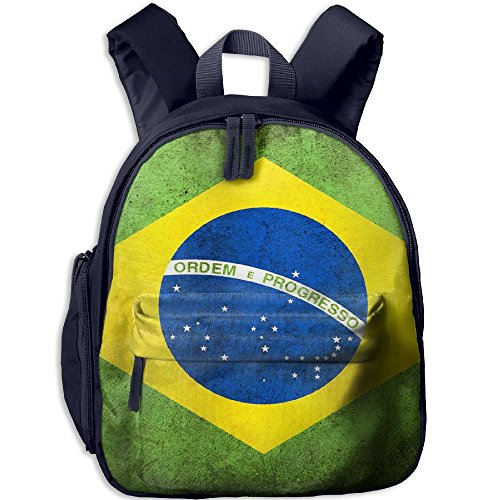 Retro Brasil Flag Printed Lightweight Oxford School Bag Double Zipper Closure Waterproof Shoulder Travel With Front Pockets