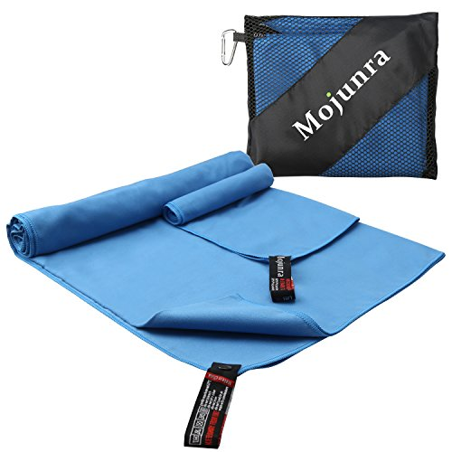 Mojunra Microfiber Sports & Travel Towel Set of 2 Beach Towels Super Absorbent Fast Drying & Ultra Compact for Gym Yoga Camping