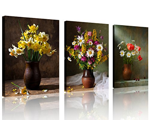 Floral Vase Flowers Life Still (TutuBeer Still life of Flowers in Vase Canvas Print Wall Art Painting for Home Decor Floral Still Life with Colorful Flowers Brown Vase Still Life Canvas Wall Art for Home Decor 12x16inches 3pcs/set)