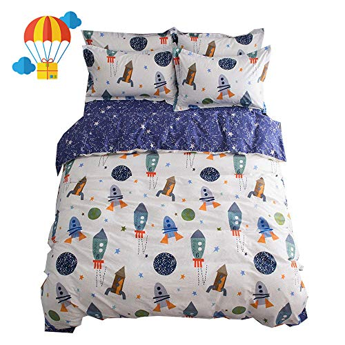 BuLuTu Space Rocket printing Cotton Boys Duvet Cover Sets Twin White Blue Universe Adventure Theme Star Kids Girls Bedding Sets utilizing 2 Pillowcases Zipper Closure,Gifts for Her,Him,Child,Friend,Family,Son Black Friday & Cyber Monday 2018