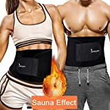 SIMIYA Waist Trimmer for Women & Men, Neoprene Sauna Slim Belt, Abdominal Trainer, Stomach Wraps for Weight Loss, Low Back and Lumbar Support, Adjustable Stomach Belly Fat Burner Wrap-M