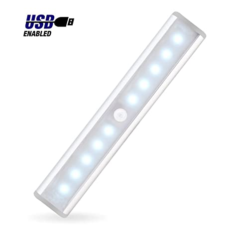JEBSENS   T05 LED Under Cabinet Lighting, Rechargeable Battery Operated  Closet Light With Motion Sensor