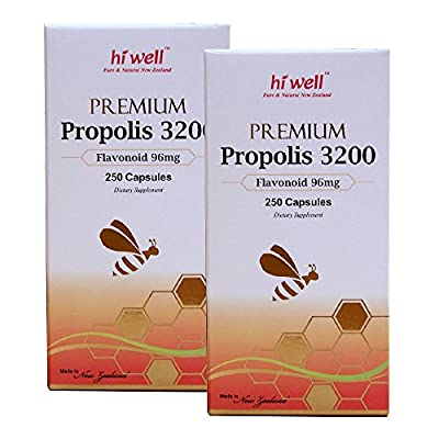 Hi Well Premium Bee Propolis 3200 Flavonoid 96mg 250 Capsules New Zealand Bee Immune Support Vitamins Minerals & Antioxidants (Pack of 2)