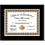 CreativePF [8.5x11bk] Black Diploma Frame, Holds 8.5 by 11-inch Graduation Documents w/Stand and Wall Hanger