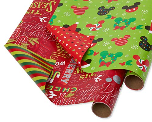 Papyrus Foil Christmas Wrapping Paper, Mickey Mouse and Holiday Text Reversible (2 Pack) (Christmas Paper Mouse Wrapping Mickey)