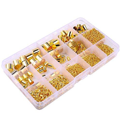 [해외]Supla (930 세트) 금 도금 배럴 가죽 코드 끝 코드 끝 캡 4mm-12mm, 가재 걸쇠 10mm 12mm, 점프 링 4mm-7mm, 점프 링 열기 도구 및 확장/Supla (930 sets) Gold Plated Barrel Leather Cord Ends Cord End Cap 4mm-12mm, Lobster Clasp 10mm 12mm,ju...
