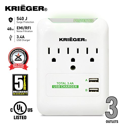 krieger-ul-1449-wall-mount-3-outlet-540j-advanced-fireproof-surge-protector-dual-usb-ports-34a-max-f