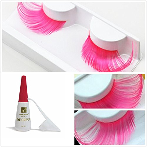 Beauty II Girl Fancy Dress Dance Party Makeup Multi-colored False Eyelashes Eye Lashes Extra Long Cosplay Christmas Halloween Costume Queen Holiday Fun Fake Eyelashes with Glue/Adhesive (Pink) (Asian Costume Eye Makeup)