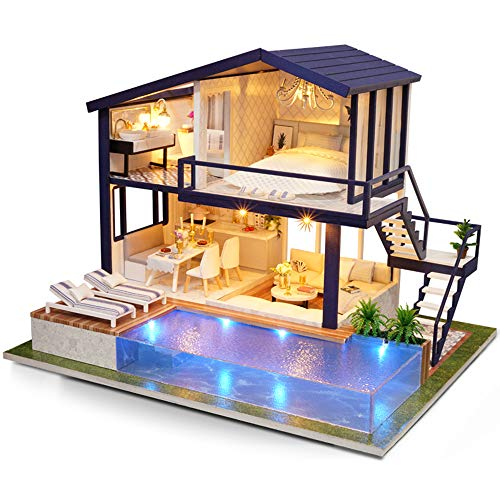Dollhouse Pool - AI-YUN DIY Hand-Assembled Dollhouse is a Toy Model Creative Decoration Wooden Model Doll House Includes Two-Story Pool Stairs and a Variety of Furniture Gift for Christmas Birthday