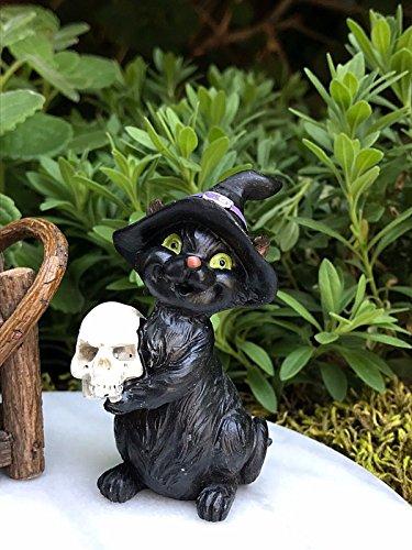 Miniature Fairy Garden Figurine Halloween Black Cat Witch Hat & Skull