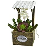 Nearly Natural 1671 Phalaenopsis Orchid & Succulent Artificial Arrangement Silk, Green