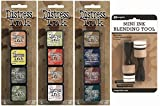 Ranger Tim Holtz Distress Mini Ink Pad Kits 10, 11, 12 and Mini Ink Blending Tool Bundle