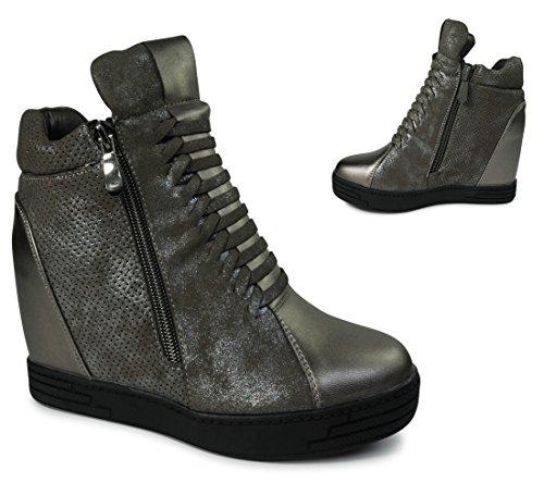 Damen Sneakers Keilabsatz Wedge Boots Stiefeletten Metallic ST603 Grau