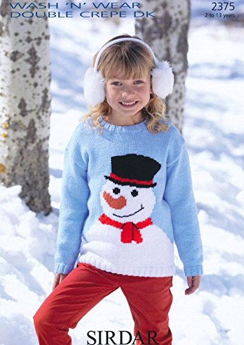 Sirdar Childrens Christmas Snowman Sweater Dk Knitting Pattern 2375