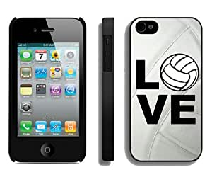 Unique iPhone 4 4S Case ,Popular And Durable Designed With Volleyball Keep Calm Play On Volleyball Player Black iPhone 4S Cover