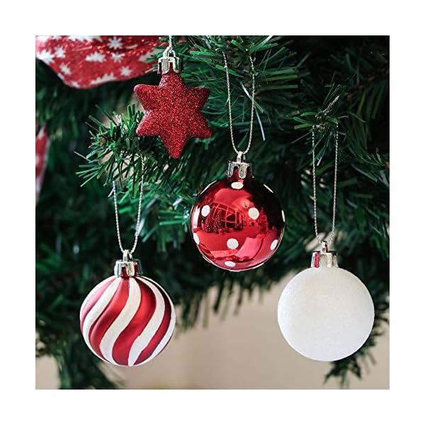 Victor's Workshop Addobbi Natalizi 35 Pezzi 5cm Palle di Natale, Oh Deer Red e White Shatterproof Christmas Ball Ornaments Decoration for Christmas Tree Decor 4 spesavip