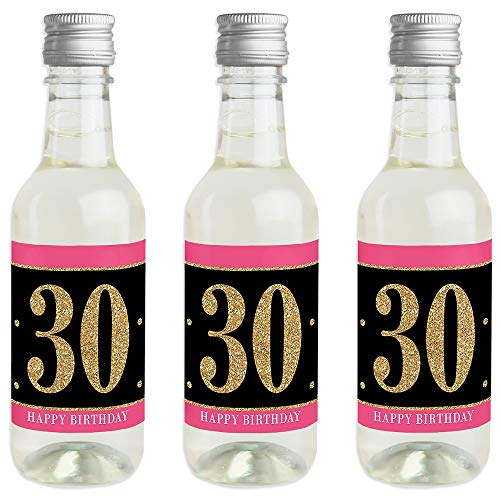 Chic 30th Birthday - Pink, Black and Gold - Mini Wine and Champagne Bottle Label Stickers - Birthday Party Favor Gift for Women and Men - Set of - Black Label Champagne