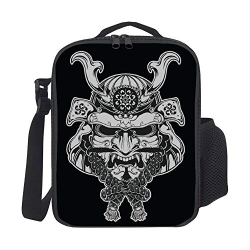Black 1660 Double Handle - SARA NELL Kids Lunch Backpack Lunch Box Japanese Samurai Warrior Black Lunch Bag Large Lunch Boxes Cooler Meal Prep Lunch Tote With Shoulder Strap For Boys Girls Teens Women Adults