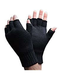 Mens Thinsulate Thermal Insulated Black Knit Winter Fingerless Gloves (M/L, Black)
