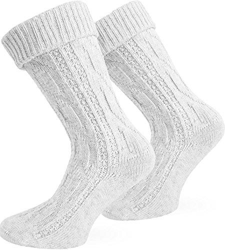 Trachten Umschlag Socken im Landhaus-Stil mit aufwändiger Applikation Farbe Weiß Größe 43/46
