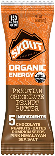 (SKOUT BACKCOUNTRY Organic Energy Bars - Peruvian Chocolate Peanut Butter - Vegan Snacks - Plant Based Bars - Non-GMO - Gluten Free, Dairy Free, Soy Free - No Sugar Added - 1.45 oz (12 Count) )