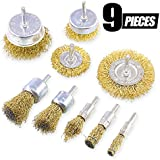 Swpeet 9Pcs Brass Coated Wire Brush Wheel & Cup Brush Set with 1/4-Inch Shank, 9 Sizes Coated Wire Drill Brush Set Perfect For Removal of Rust/Corrosion/Paint - Reduced Wire Breakage and Longer Life