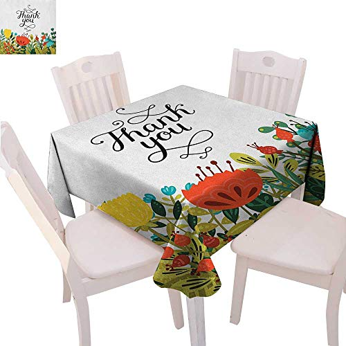 BlountDecor Floral Customized Tablecloth Hand Written Style Thank You Quote Above Botanic Big Slowers and Leaves Artwork Tablecloth That can be Used as a Tapestry 50