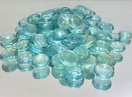 Glass Vase Fillers (WGV Flat Marbles, Pebbles, Glass Gems for Vase Fillers, Party Table Scatter, Wedding, Decoration, Landscaping, Aquarium Decor, Crystal Rocks [Color: Aqua] (2 Pounds, Approx 200)