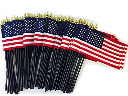 Lot-of-100-4x6-Inch-Deluxe-Presidential-US-American-Hand-Held-Stick-Flags-Spear-Ball-Top-With-10-Black-Staff-WindStrong-Made-in-the-USA