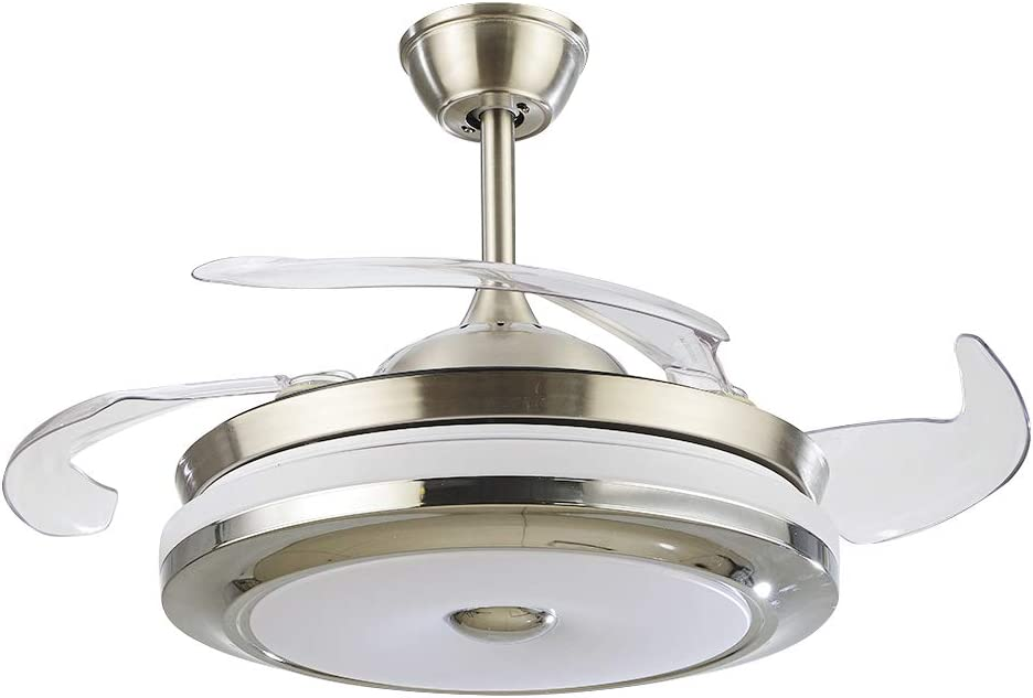 42 Retractable Ceiling Fan Light With Remote Control Dimmable LED Light Kit 3 Color Changing Invisible Chandelier Fan