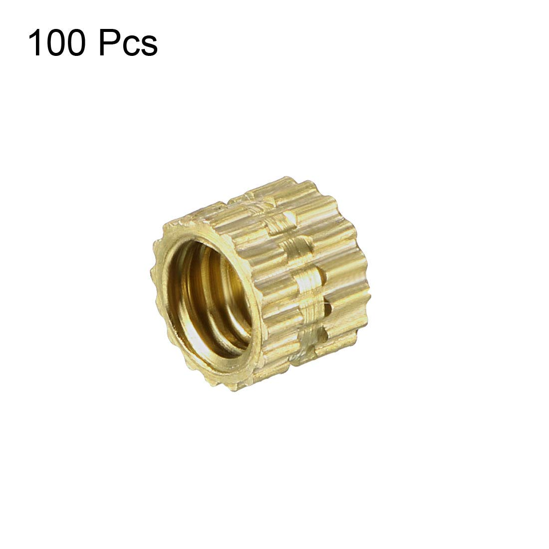 M6 x 8mm Pack of 100 uxcell Knurled Threaded Insert x 8.5mm Female Thread Brass Embedment Nuts L OD