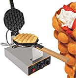 Egg Waffle Maker Professional Rotated Nonstick (Grill / Oven for Cooking Puff, Hong Kong Style, Egg, QQ, Muffin, Cake Eggettes and Belgian Bubble Waffles) (220V with EURO Plug)