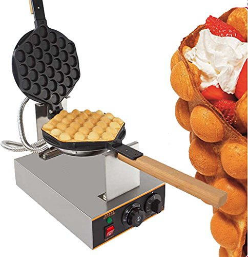 Egg Waffle Maker Professional Rotated Nonstick (Grill / Oven for Cooking Puff, Hong Kong Style, Egg, QQ, Muffin, Cake Eggettes and Belgian Bubble Waffles) (220V with EURO Plug) by ALDKitchen