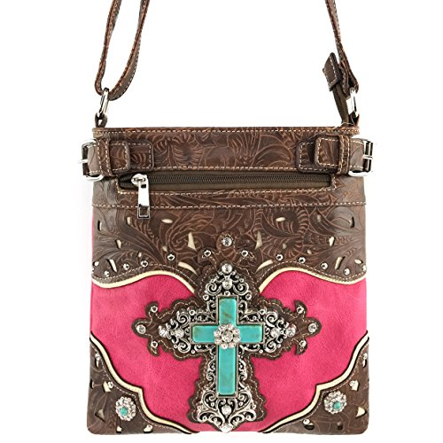 Justin West Tooled Leather Laser Cut Turquoise Rhinestone Cross Concho Studded Messenger Handbag with CrossBody Strap (Hot Pink)