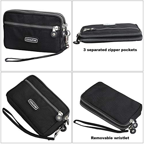 3 Zippers Clutch Wallet Waterproof Nylon Cell phone Purse Wristlet Bag Money Pouch for Women (Black) by Coolstar (Image #4)
