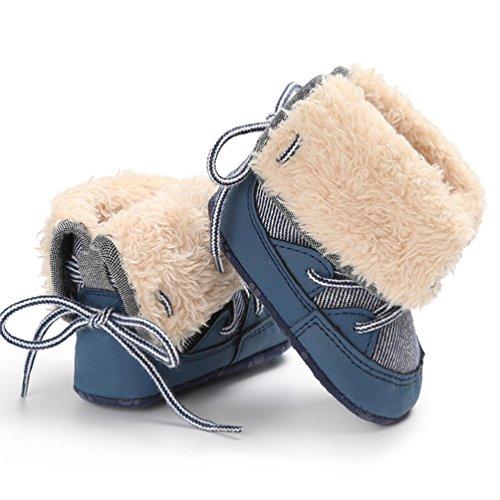YiJee Baby Kinder Classic Schick Schneestiefel Herbst und Winter Casual Kinderschuhe mit Weiche Sohlen Blau