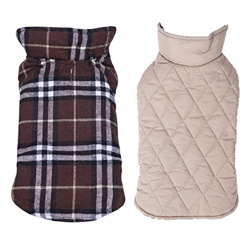 Dog Jacket,TPYQdirect Waterproof Windproof Reversible British style Plaid Dog Vest Winter Coat Warm Dog Apparel for Cold Weather Dog Jacket for Small Medium Large dogs with Furry Collar (XXL, BROWN)
