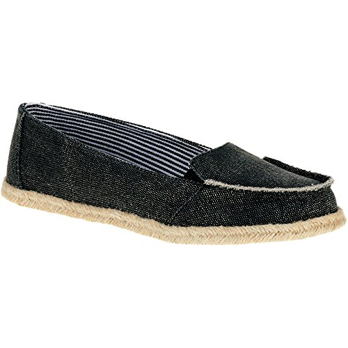 Faded Glory Memory Foam Women's Surfer Moccassin Casual Shoes (6 M US, Black)