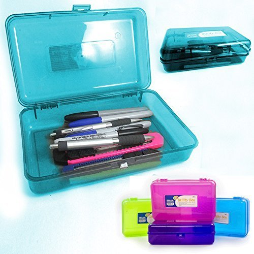 Plastic Pencil Box Case Kids School Office Supplies Pen Art Craft Organizer New -