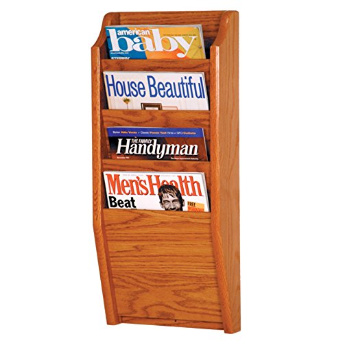 Wooden Mallet 4-Pocket Cascade Magazine Rack, Medium Oak