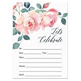 Digibuddha Fill-In Rose Party Invitations with Envelopes (Pack of 50) Bridal Shower, Bachelorette Party Excellent Value Wedding, Rehearsal Dinner Invitations VI0020