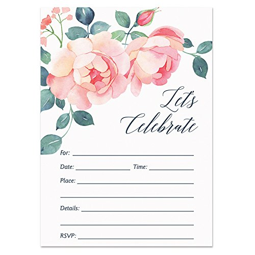 Pink Rose Invitations with Envelopes (Pack of 25) Fill In Bridal Shower, Rehearsal Dinner Invites, Baby Shower, Engagement, Anniversary, Graduation, Birthday Party Excellent Value VI0020B