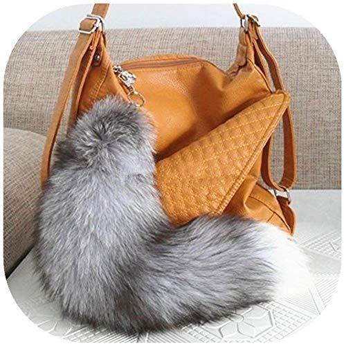 TRUE-FUR Real Fox Tail Fur Handbag Accessories Cosplay Toy Keychain Ring Hook (Grey)]()