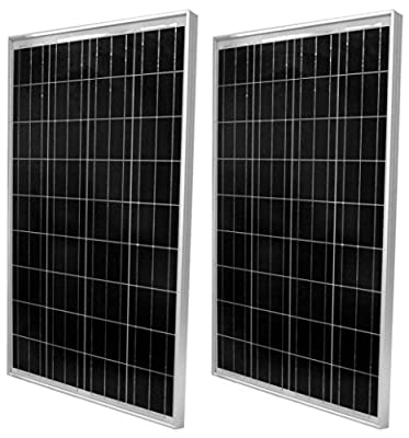 WindyNation 2pcs 100 Watt Polycrystalline Solar Panel Off-Grid 12 Volt (12V) Battery Charging for RV Boat