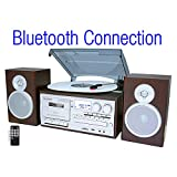 Boytone Bluetooth Classic Style Record Player Turntable with AM/FM Radio